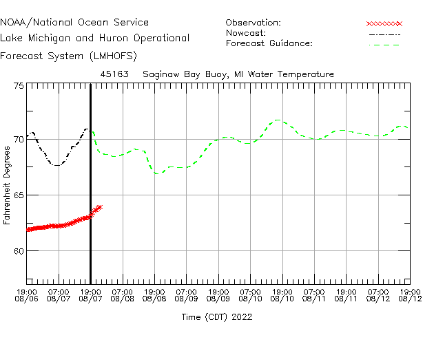 Saginaw Bay Buoy Water Temperature Time Series Plot