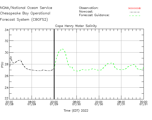 Cape Henry Salinity Time Series Plot