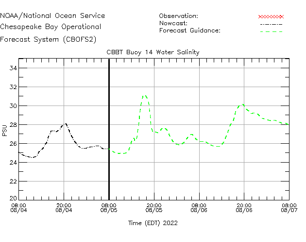 CBBT Buoy 14 Salinity Time Series Plot