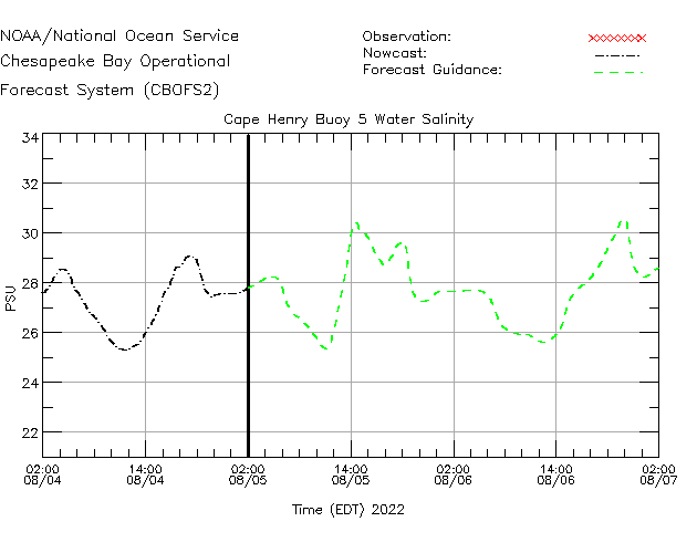 Cape Henry Buoy 5 Salinity Time Series Plot