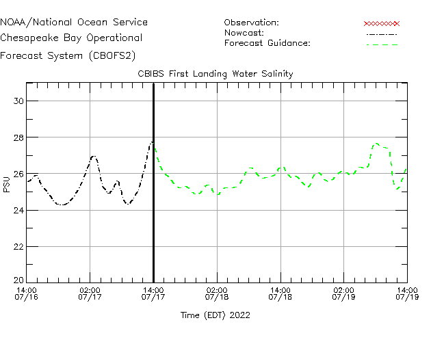 CBIBS First Landing Salinity Time Series Plot