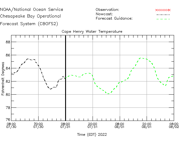 Cape Henry Water Temperature Time Series Plot