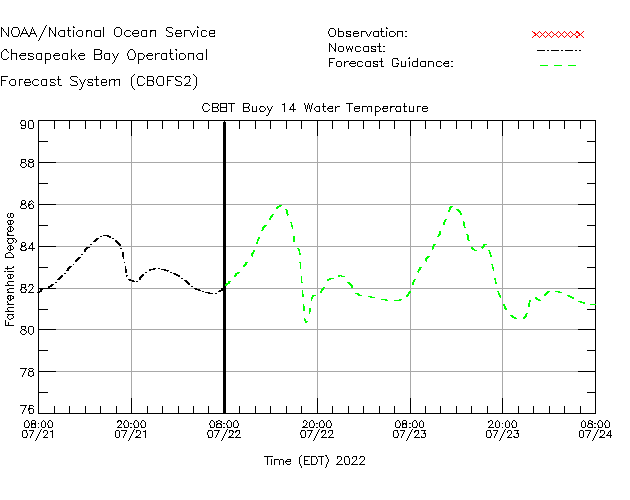 CBBT Buoy 14 Water Temperature Time Series Plot