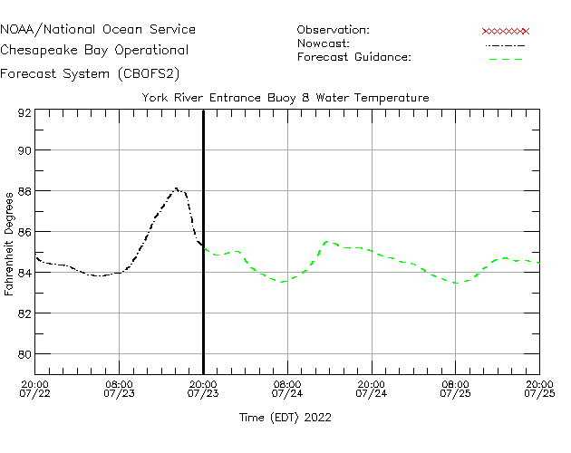 York River Entrance Buoy 8 Water Temperature Time Series Plot