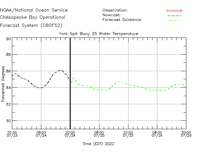 York Spit Buoy 35 Water Temperature Time Series Plot