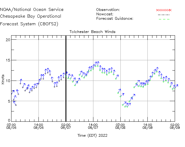 Tolchester Beach Winds Time Series Plot