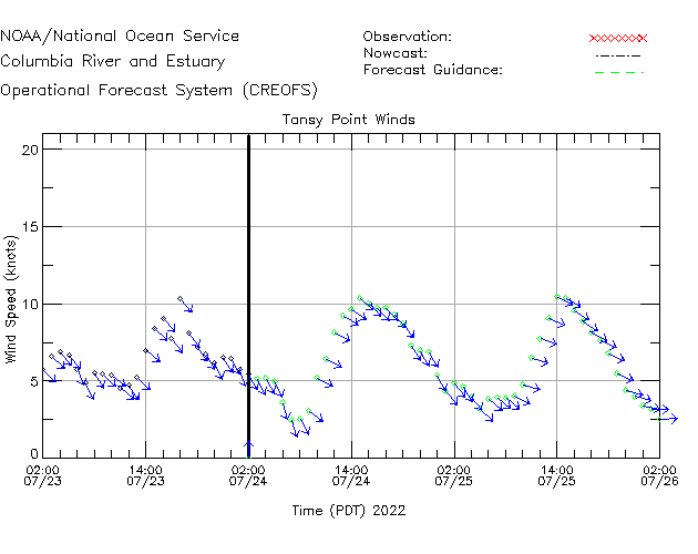 Tansy Point Winds Time Series Plot