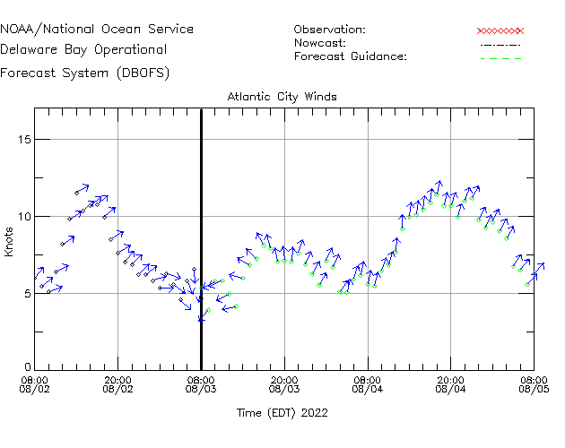Atlantic City Winds Time Series Plot