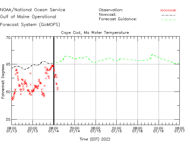 Cape Cod Buoy Water Temperature Time Series Plot