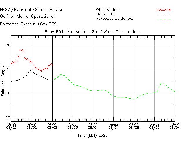 Western Maine Shelf Water Temperature Time Series Plot