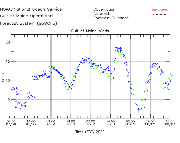 Gulf of Maine Winds Time Series Plot