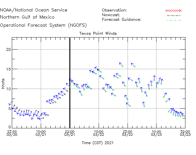 Texas Point Winds Time Series Plot