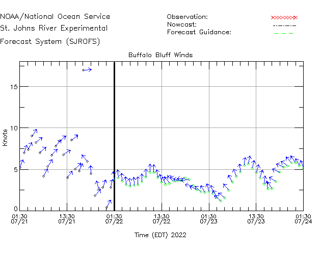 Buffalo Bluff Winds Time Series Plot
